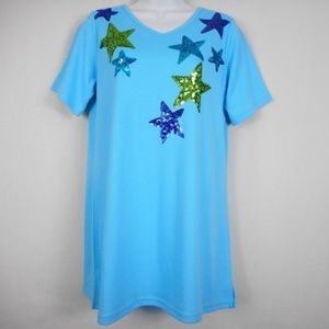 Quacker Factory Top XXS Blue Short Slv Sequins New